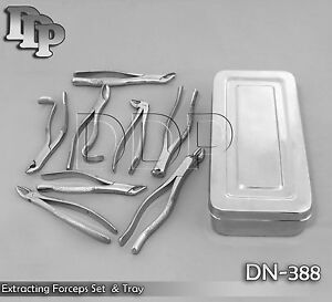 Extracting Set Surgical Dental Instruments Forceps Tray Dn 388