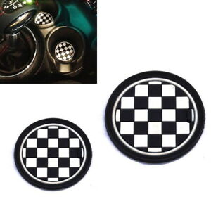 73mm Black Uk Checker Pattern Style Coasters For Mini Cooper Front Cup Holders