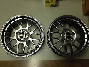 Pair Of 2 New Bbs Rgr Rg7 Diamond Black Wheels Forged 18x8 35mm 5x112
