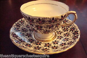 Rosina Mid Century England Cup Saucer Black Flowers W Touches Of Red 4 64