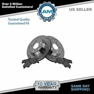 Performance Drilled Slotted Brake Rotor Posi Metallic Pads Rear Set For Gm