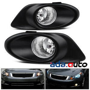 For 2008 2009 Honda Accord 4dr Sedan Glass Lens Chrome Fog Lights Harness Switch