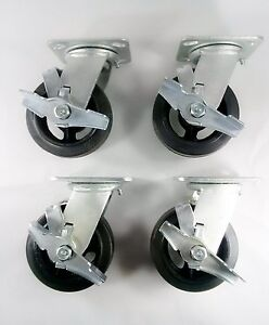 6 X 2 Rubber On Cast Iron Caster Swivel With Brake 4ea