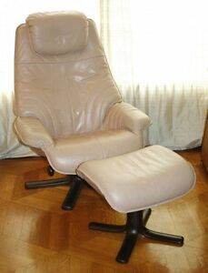 Danish Modern Leather Rosewood Recliner Lounge Chair Ottoman Ekornes Stouby