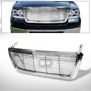 Fits 04 08 Ford F150 Chrome Horizontal Billet Front Hood Bumper Grill Grille Abs