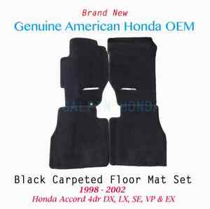 1998 2002 Genuine Oem Honda Accord 4dr Black Carpet Floor Mat Set 08p15 s84 110b