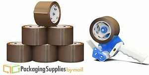 Tan Packing Tape 3 X 55 Yards 24 Rolls 1 8 Mil 1 Free 3 Tape Gun Dispenser