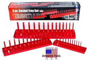 Hansen 3pc Socket Organizer Tray Rack Holder Sae Standard 1 4 3 8 1 2 Usa Made