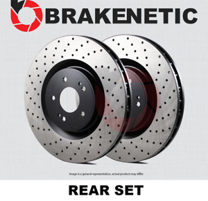 Rear Set Brakenetic Premium Cross Drilled Brake Disc Rotors Cobra Bnp61046 Cd
