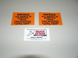 Snack Or Soda Vending Machine 2 Decals notice All Money Is Removed