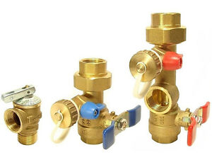 Rinnai Tankless Water Heater Isolation Valves Kit With Relief Valve Threaded