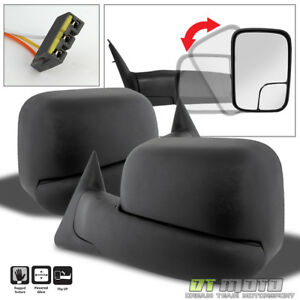 Left right 1994 1997 Dodge Ram 1500 2500 Tow Extend Flip Up Power Side Mirrors