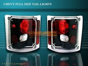 73 87 Chevy Silverado Truck Tahoe Tail Lights Blk 84 83