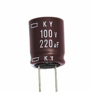 50pc Electrolytic Capacitor Ky 220uf 100v 105 10000hr Nippon Chemi con 16x20mm