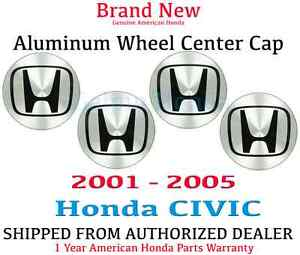 2001 2005 Genuine Oem Honda Civic Aluminum Wheel H Center Cap 1 Set
