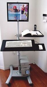 Stand up Mobile Computer Pole Workstation Height Adjustable