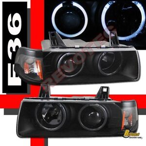 Black Halo Projector Headlights For 92 98 Bmw E36 318i 325i Coupe Convertible