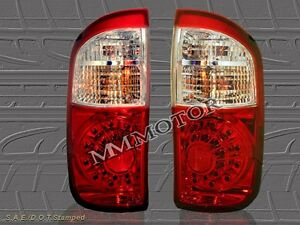 04 05 06 Toyota Tundra Double Cab Red Clear Led Tail Lights New 2005 2006 2004