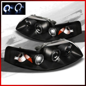 Fits 99 04 Ford Mustang Dual Halo Projector Blk Headlights Lamps Left r