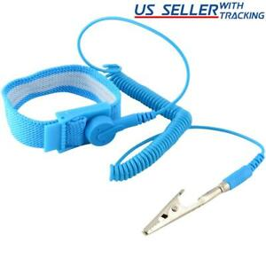 2x Anti static Wrist Strap Esd Grounding Discharge Band Clip On Adjustable Cord