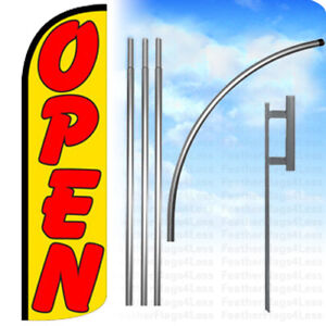 Open Windless Swooper Flag Kit 15 Feather Banner Sign Yq