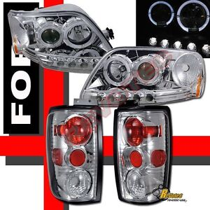 1997 2002 Ford Expedition Halo Led Projector Headlights Tail Lights Set