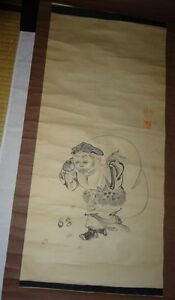 Rare Japanese Vintage Hand Painted Hanging Scroll Signed Ebisu Seven Lucky Gods
