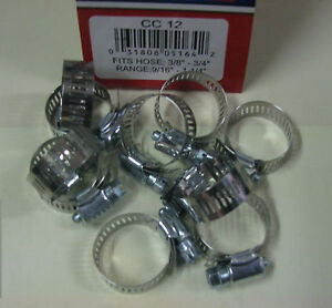 Stainless Steel Band Hose Clamp 1 2 1 1 4 Amgauge 12 Clamps 10 Pieces