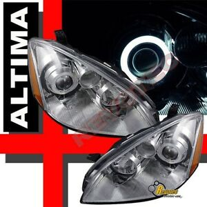 Ccfl Halo Angel Eye Projector Headlights Chrome For 2002 2004 Nissan Altima