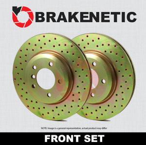 Front Set Brakenetic Sport Cross Drilled Brake Rotors Cobra Bns61044 Cd
