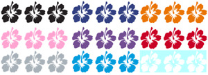 Hibiscus Flower Set Of 3 Vinyl Graphic Car Decal Sticker 9 Color Choices