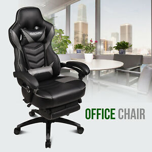 White High Back Office Chair Pu Leather Ribbed Rolling Caster Computer Desk Home