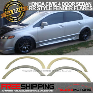 Fits 06 11 Honda Civic 4dr Sedan Rr Style Front Rear Fender Flares Unpainted Abs