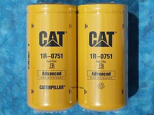 2 New Cat 1r 0751 Fuel Filters Sealed Made In Usa Caterpillar 1r0751 Oem