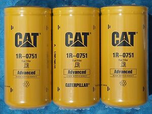 3 New Cat 1r 0751 Fuel Filters Sealed Made In Usa Caterpillar 1r0751 Oem