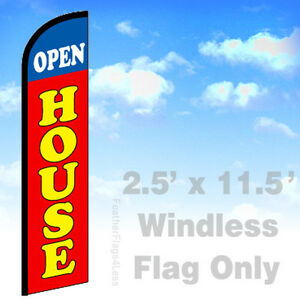 Open House Windless Swooper Flag 2 5x11 5 Feather Banner Sign Rf