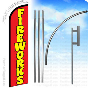 Fireworks Windless Swooper Flag 15 Kit Feather Banner Sign Rf