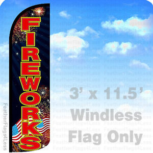 Fireworks Windless Swooper Flag 3x11 5 Feather Banner Sign Kq