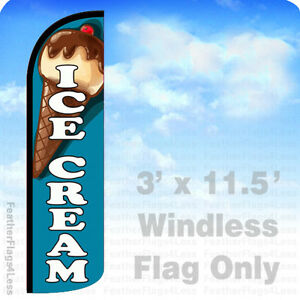 Ice Cream Windless Swooper Flag Feather Banner Sign 3x11 5 Bq