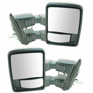 Mirror Power Dual Arm Tow Power Folding Textured Lh Rh Pair Set For Ford Truck