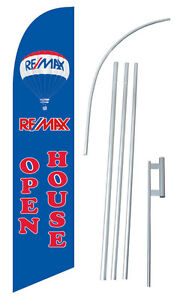 Remax Open House Banner Flag Sign Blue Advertising Feather Swooper Kit Windless