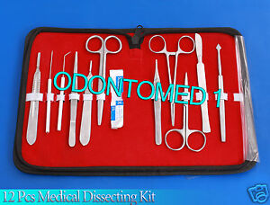 12 Pcs Medical Dissecting Kit Surgical Anatomy Instruments Set Ds 817