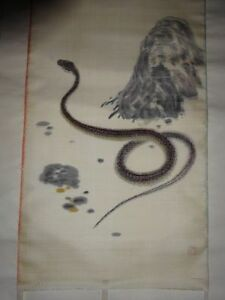 Rare Japanese Vintage Silk Hand Painted Hanging Scroll Signed Red Snake Viper