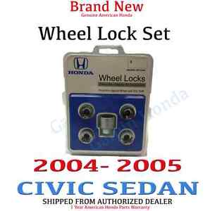 2004 2005 Honda Civic Sedan New Genuine Wheel Lock Set