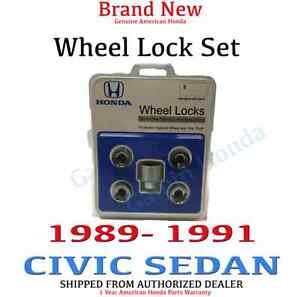1989 1991 Honda Civic Sedan New Genuine Wheel Lock Set