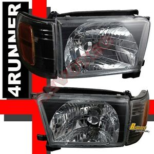 Black Headlights Corner Signal Lights 1 Pair For 1996 1997 1998 Toyota 4runner