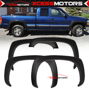 Fits 99 06 Chevy Silverado 1500 2500 3500 Oe Smooth Black Fender Flares Pp