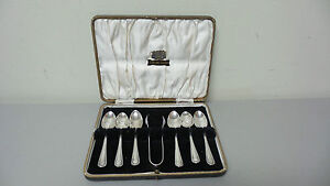 English E Viners Sterling Silver Demitasse Spoons Sugar Tong Set C 1931