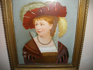 Antique 19th 1800 S Porcelain Hand Painted Plaque Woman Portrait With Label