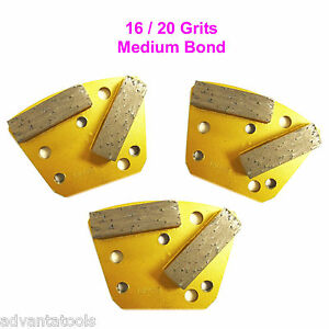 3pk Trapezoid Htc Style Grinding Shoe Disc Plate Medium Bond 16 20 Grit